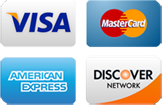 cards we accept are visa, mastercard, american express, discover